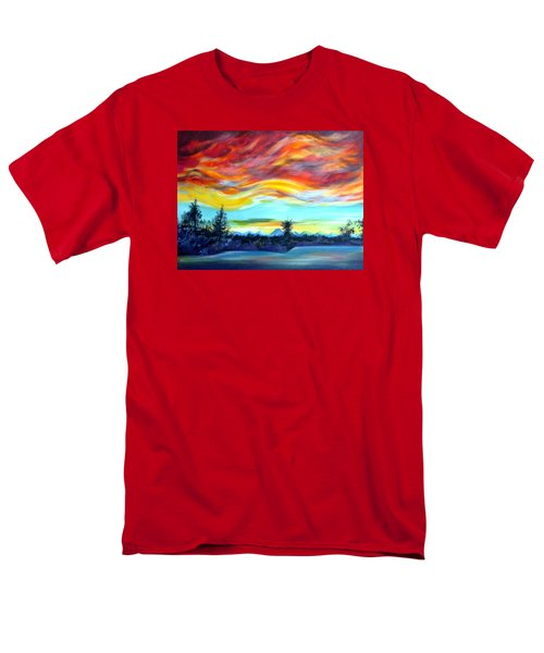 Men's T-Shirt  (Regular Fit) featuring the painting Chinook Arch Over Bow River by Anna  Duyunova
