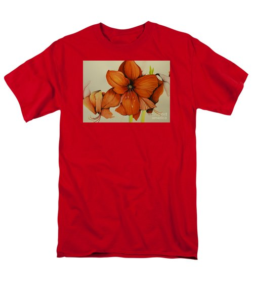 Men's T-Shirt  (Regular Fit) featuring the painting Christmas Amaryllis by Rachel Lowry