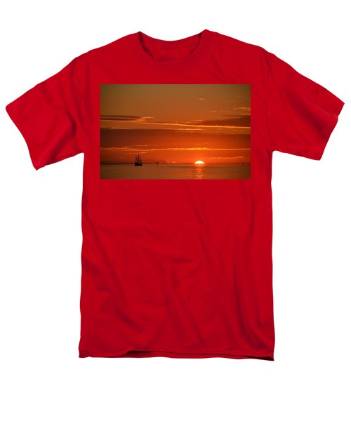 Christopher Columbus Replica Wooden Sailing Ship Nina Sails Off Into The Sunset Men's T-Shirt  (Regular Fit) by Jeff at JSJ Photography