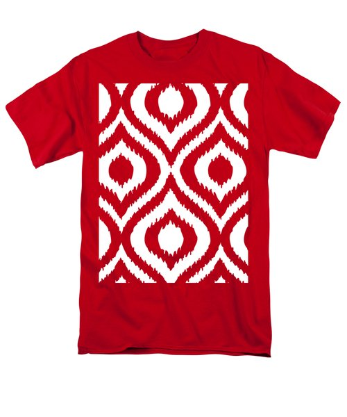 Circle And Oval Ikat In White T02-p0100 Men's T-Shirt  (Regular Fit) by Custom Home Fashions