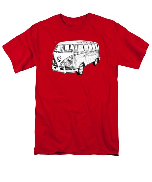 Classic Vw 21 Window Mini Bus Illustration Men's T-Shirt  (Regular Fit) by Keith Webber Jr