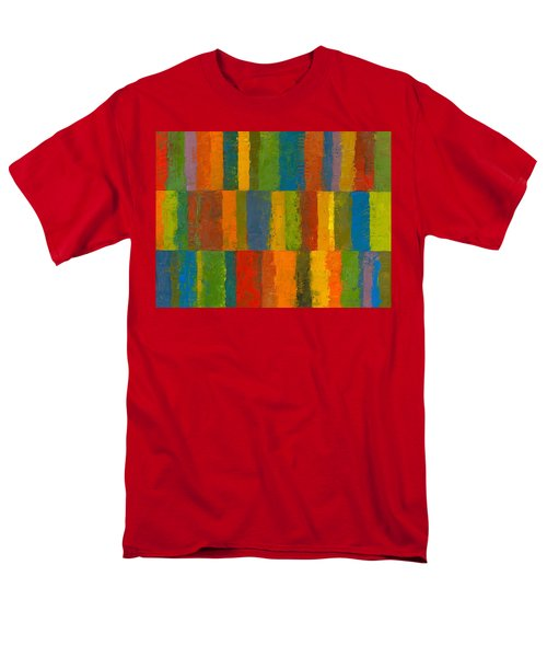 Color Collage With Stripes Men's T-Shirt  (Regular Fit) by Michelle Calkins