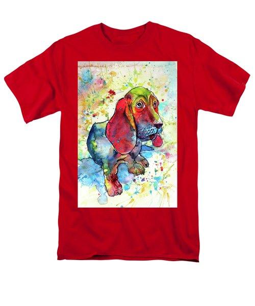Men's T-Shirt  (Regular Fit) featuring the painting Cute Basset Hound by Kovacs Anna Brigitta