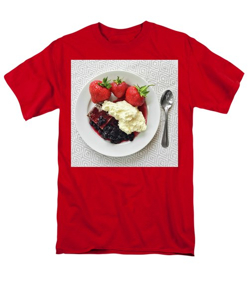 Dessert With Strawberries And Whipped Cream Men's T-Shirt  (Regular Fit) by GoodMood Art