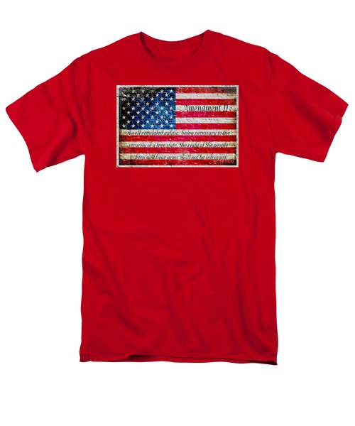 Distressed American Flag And Second Amendment On White Bricks Wall Men's T-Shirt  (Regular Fit) by M L C