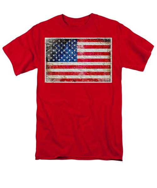 Distressed American Flag On Old Brick Wall - Horizontal Men's T-Shirt  (Regular Fit) by M L C