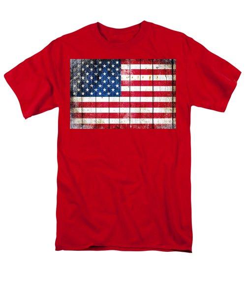 Distressed American Flag On Wood Planks - Horizontal Men's T-Shirt  (Regular Fit) by M L C