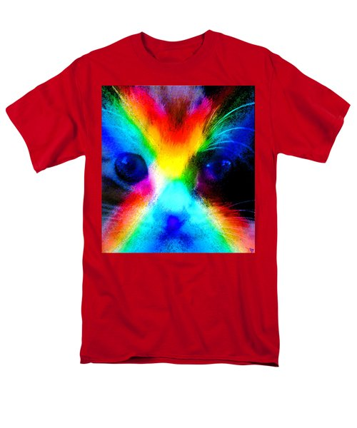 Men's T-Shirt  (Regular Fit) featuring the painting Double Rainbow Cat by David Lee Thompson