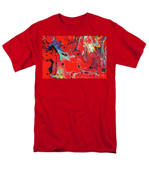 Emotional Soul - Red Abstract Canvas Painting Men's T-Shirt  (Regular Fit) by Gordan P Junior