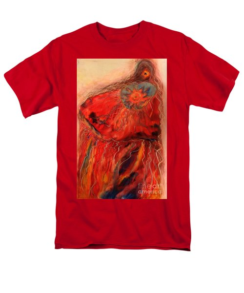 Men's T-Shirt  (Regular Fit) featuring the painting Fancy Shawl Dancer by FeatherStone Studio Julie A Miller