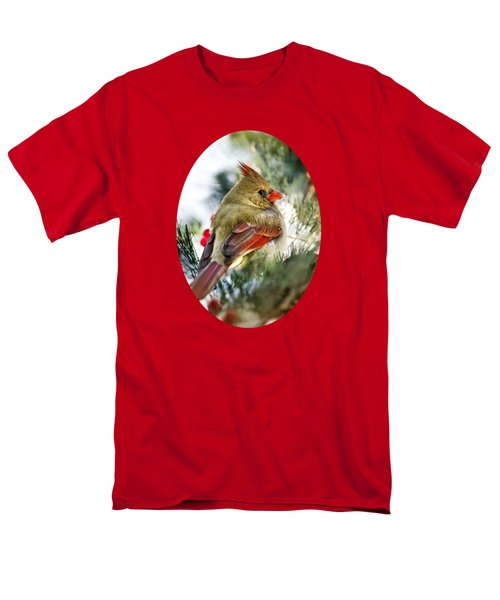 Female Northern Cardinal Men's T-Shirt  (Regular Fit) by Christina Rollo