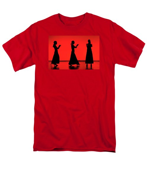 Men's T-Shirt  (Regular Fit) featuring the photograph Flamenco Red An Black Spanish Passion For Dance And Rithm by Pedro Cardona