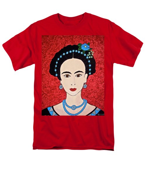 Frida With Blue Flowers Men's T-Shirt  (Regular Fit) by Stephanie Moore
