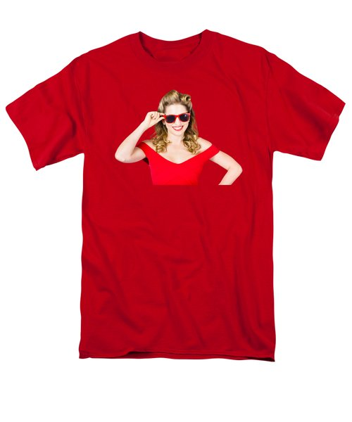 Men's T-Shirt  (Regular Fit) featuring the photograph Funky Hip Pin-up Blonde In Summer Sunglasses by Jorgo Photography - Wall Art Gallery