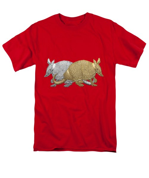 Men's T-Shirt  (Regular Fit) featuring the digital art Gold And Silver Armadillo On Red Canvas by Serge Averbukh