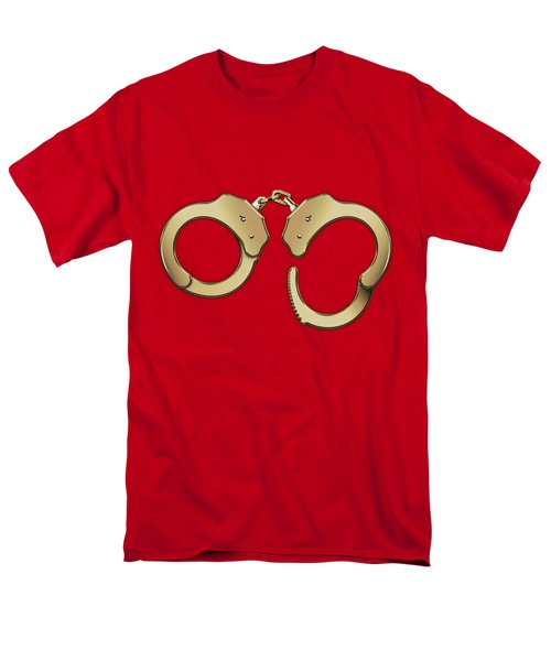 Gold Handcuffs On Red Leather Background Men's T-Shirt  (Regular Fit) by Serge Averbukh
