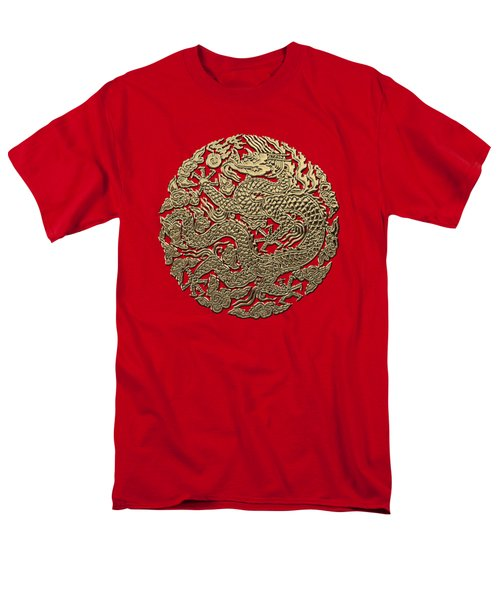 Golden Chinese Dragon On Red Leather Men's T-Shirt  (Regular Fit) by Serge Averbukh