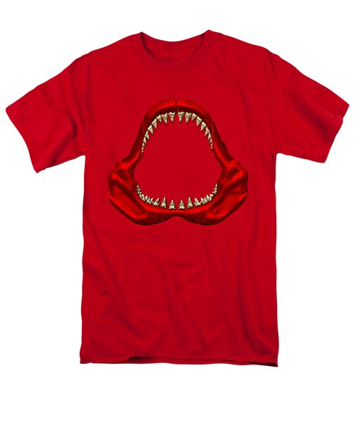 Great White Shark - Red Jaws With Gold Teeth On Red Canvas Men's T-Shirt  (Regular Fit)