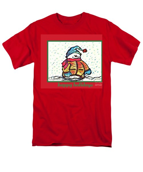 Happy Holidays Snowman Men's T-Shirt  (Regular Fit) by MaryLee Parker