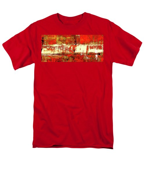 Indian Summer - Red Contemporary Abstract Men's T-Shirt  (Regular Fit) by Modern Art Prints