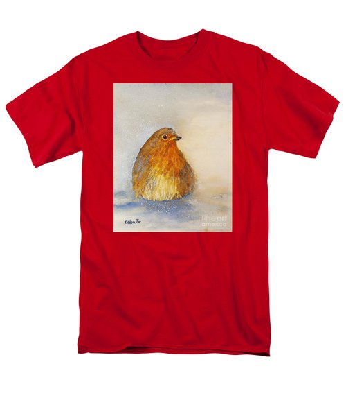Irish Robin In The Snow Men's T-Shirt  (Regular Fit) by Kathleen Pio