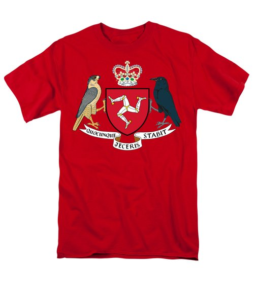 Men's T-Shirt  (Regular Fit) featuring the drawing Isle Of Man Coat Of Arms by Movie Poster Prints