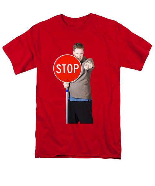 Men's T-Shirt  (Regular Fit) featuring the photograph Isolated Man Holding Red Traffic Stop Sign by Jorgo Photography - Wall Art Gallery