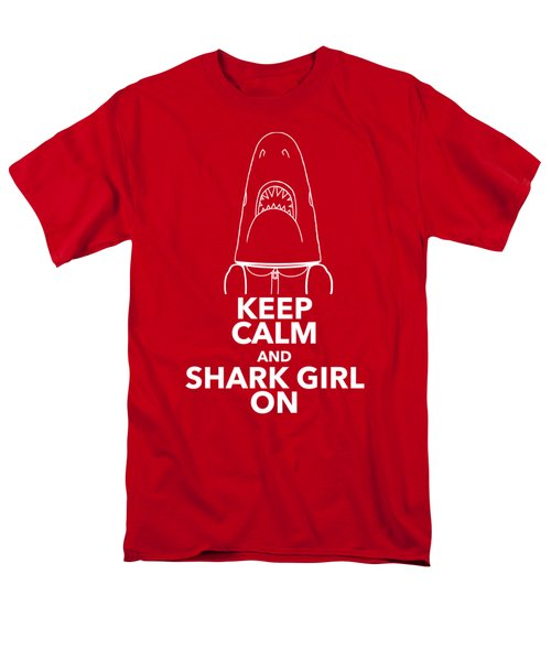 Men's T-Shirt  (Regular Fit) featuring the drawing Keep Calm And Shark Girl On by Chris Bordeleau