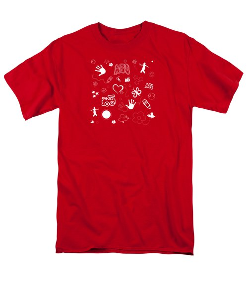 Kid's Playful Background Pattern And Shapes Men's T-Shirt  (Regular Fit) by Serena King