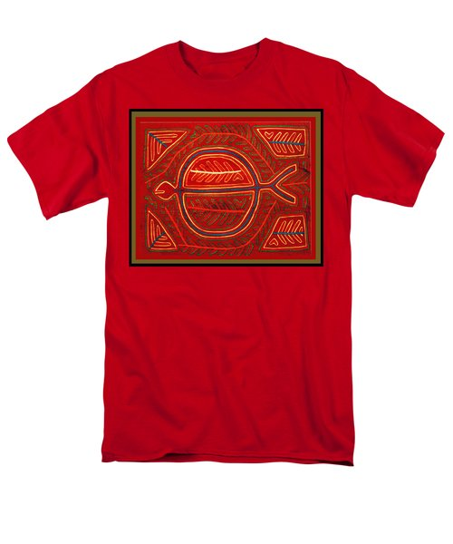 Men's T-Shirt  (Regular Fit) featuring the digital art Kuna Indian Stingray Mola by Vagabond Folk Art - Virginia Vivier