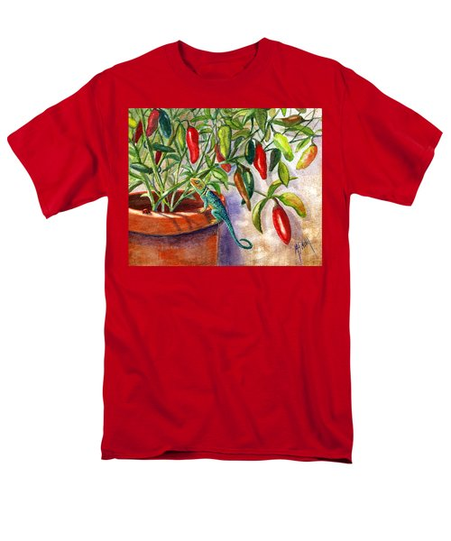 Men's T-Shirt  (Regular Fit) featuring the painting Lizard In Hot Sauce by Marilyn Smith
