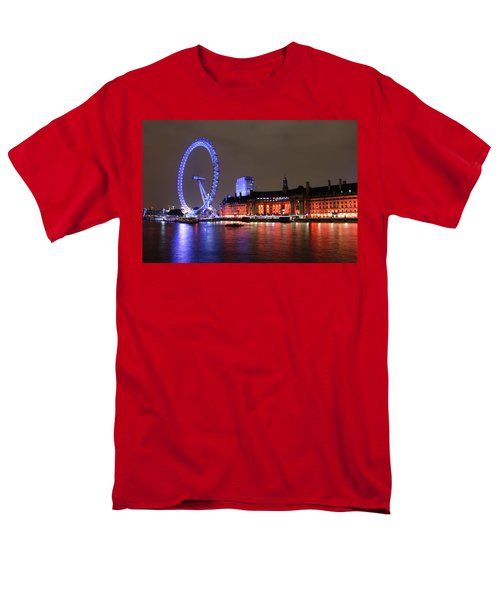 Men's T-Shirt  (Regular Fit) featuring the photograph London Eye By Night by RKAB Works