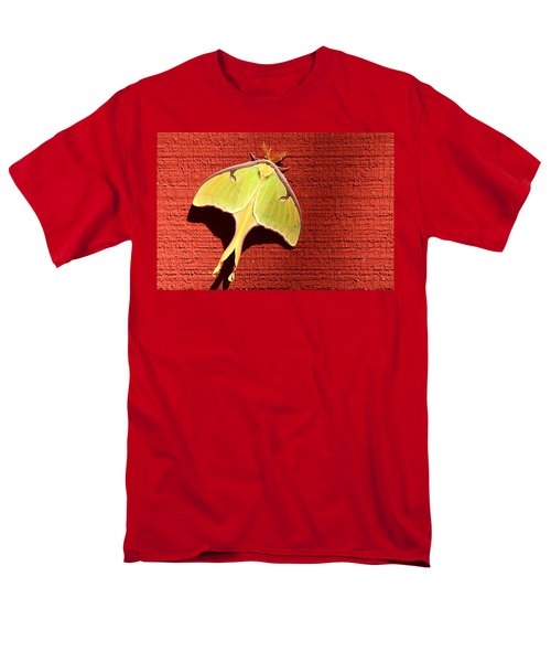 Luna Moth On Red Barn Men's T-Shirt  (Regular Fit) by Sheila Brown