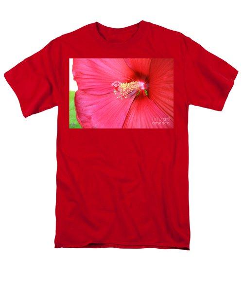 Macro Red Hibiscus Men's T-Shirt  (Regular Fit) by Marsha Heiken