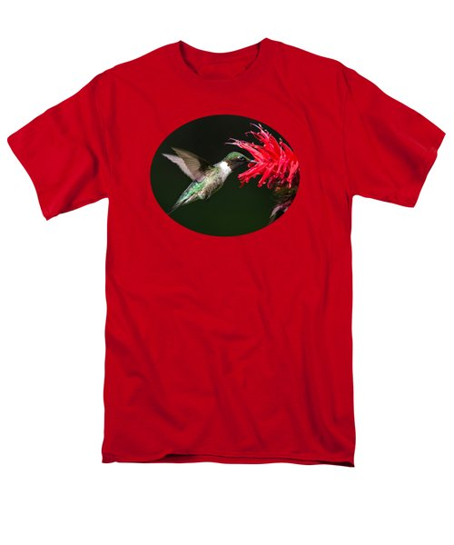 Male Ruby-throated Hummingbird With Red Flower Men's T-Shirt  (Regular Fit) by Christina Rollo