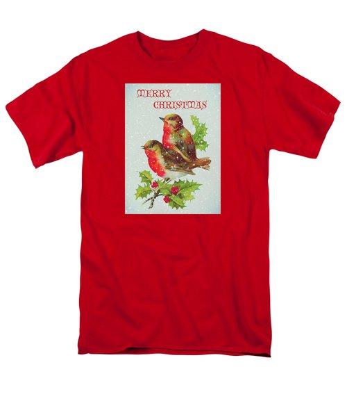Merry Christmas Snowy Bird Couple Men's T-Shirt  (Regular Fit) by Sandi OReilly