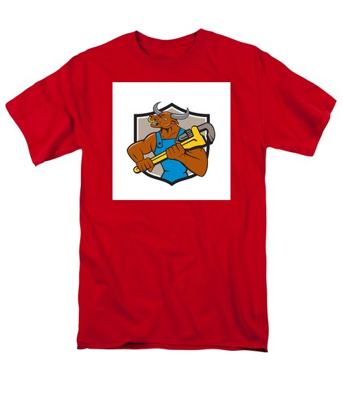 Minotaur Bull Plumber Wrench Crest Cartoon Men's T-Shirt  (Regular Fit) by Aloysius Patrimonio