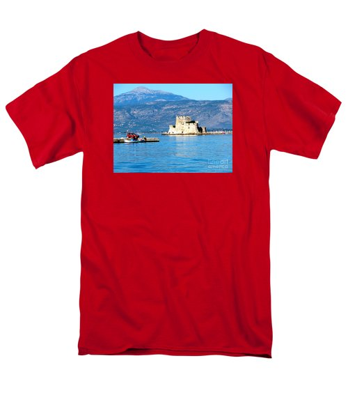 Men's T-Shirt  (Regular Fit) featuring the photograph Naflion Greece Harbor Fortress by Phyllis Kaltenbach