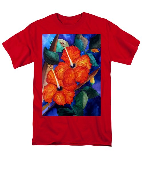 Orange Hibiscus Men's T-Shirt  (Regular Fit) by Lil Taylor