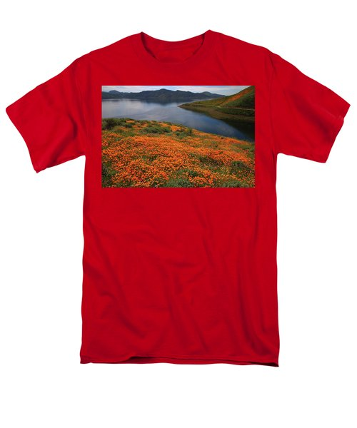 Men's T-Shirt  (Regular Fit) featuring the photograph Orange Poppy Fields At Diamond Lake In California by Jetson Nguyen