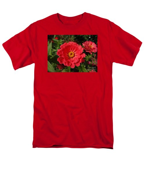 Men's T-Shirt  (Regular Fit) featuring the photograph Orange Red Zinnia by Rod Ismay