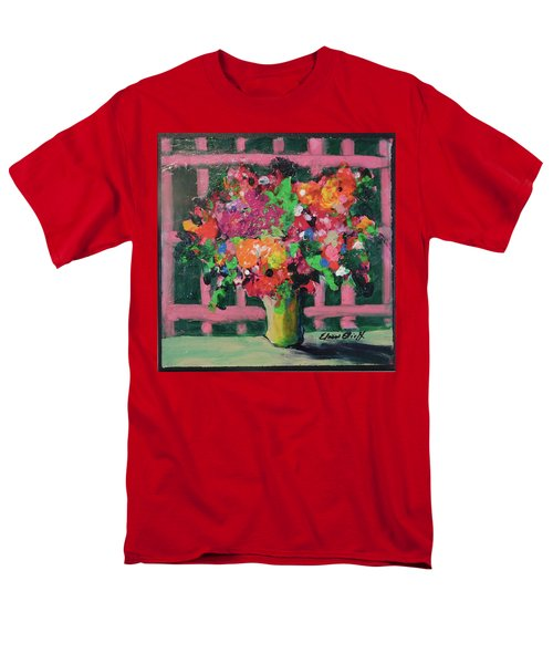 Men's T-Shirt  (Regular Fit) featuring the painting Original Bouquetaday Floral Painting By Elaine Elliott 59.00 Incl Shipping 12x12 On Canvas by Elaine Elliott