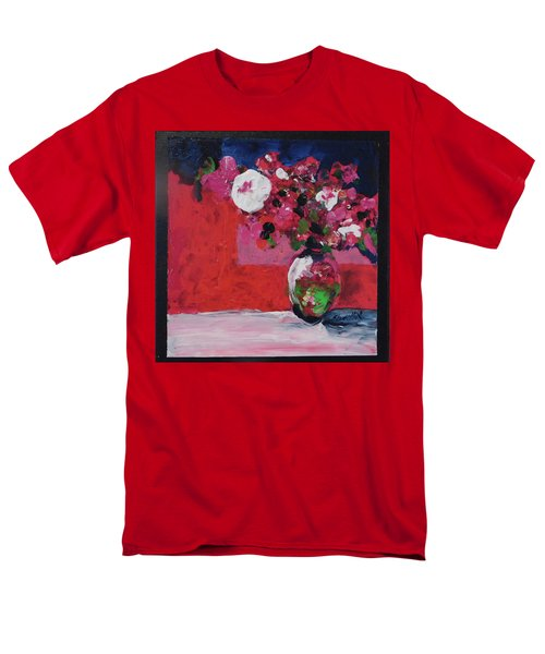 Men's T-Shirt  (Regular Fit) featuring the painting Original Floral Painting By Elaine Elliott, 12x12 Acrylic And Collage, 59.00 Incl. Shipping, Contemp by Elaine Elliott