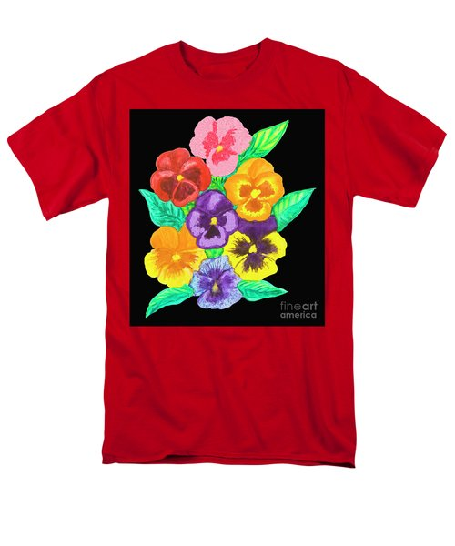 Pansies On Black Men's T-Shirt  (Regular Fit) by Irina Afonskaya
