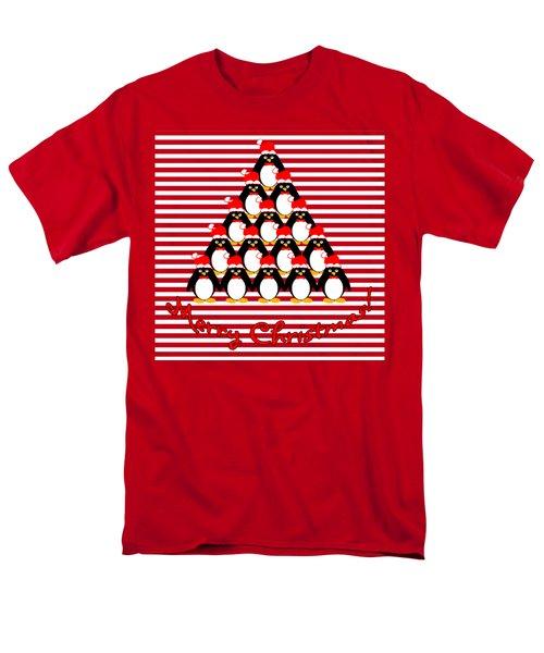 Penguin Christmas Tree N Stripes Men's T-Shirt  (Regular Fit) by Methune Hively