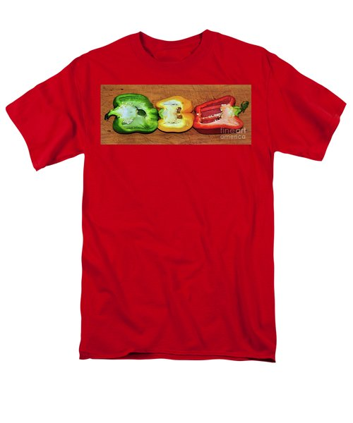 Men's T-Shirt  (Regular Fit) featuring the photograph Peppers In A Row By Kaye Menner by Kaye Menner