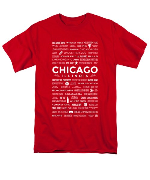 Places Of Chicago On Red Chalkboard Men's T-Shirt  (Regular Fit) by Christopher Arndt