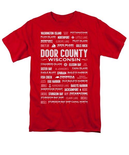 Places Of Door County On Red Men's T-Shirt  (Regular Fit)
