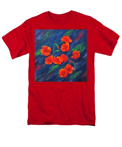 Men's T-Shirt  (Regular Fit) featuring the painting Poppies In Abstract by Roseann Gilmore