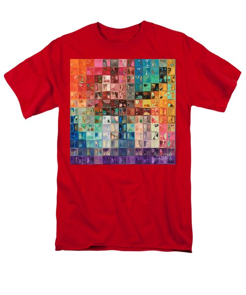 Rainbow Refractions. Modern Mosaic Tile Art Painting Men's T-Shirt  (Regular Fit) by Mark Lawrence